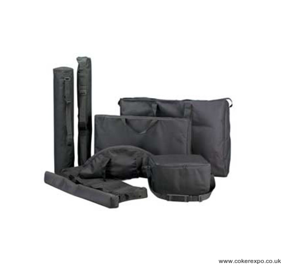 Canvas carry bags and polyproplyene carry cases for exhibition furniture.