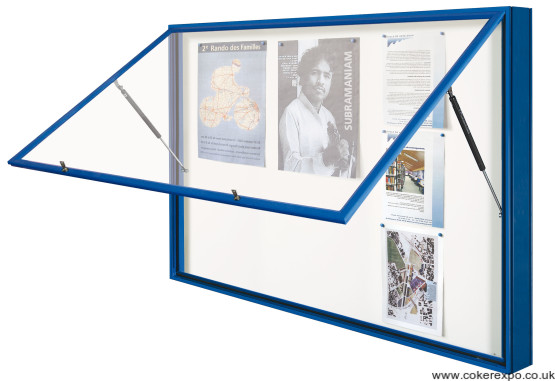 Double size notice board with rising door