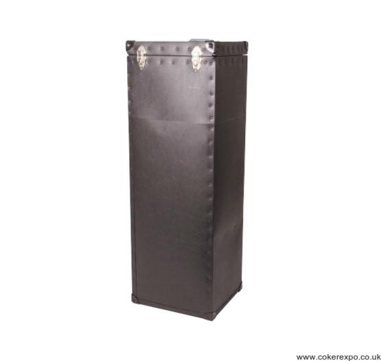 Black wheeled pvc coated transit case for exhibition kit.
