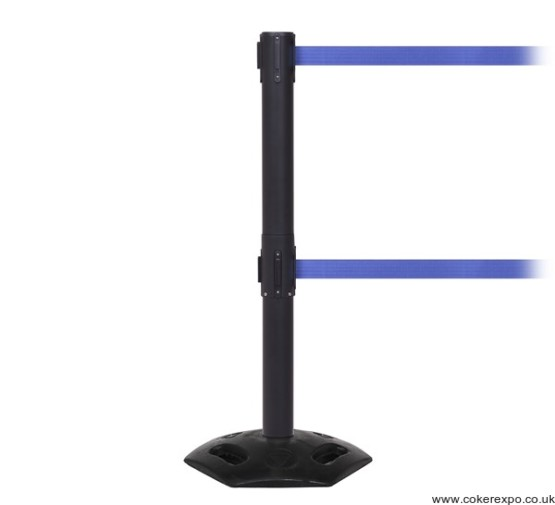 Outdoor twin retractable barrier and posts Weather Master