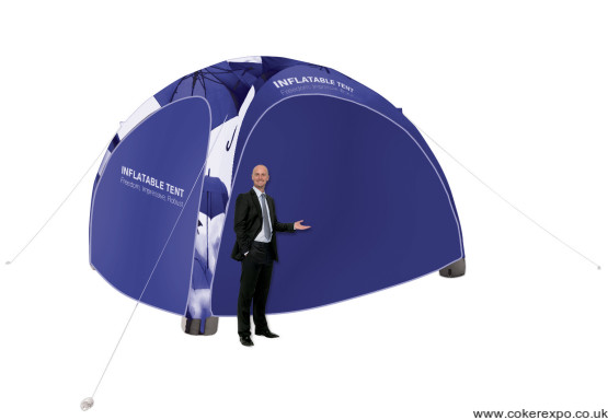 Inflatable promotional event tent with side walls fitted