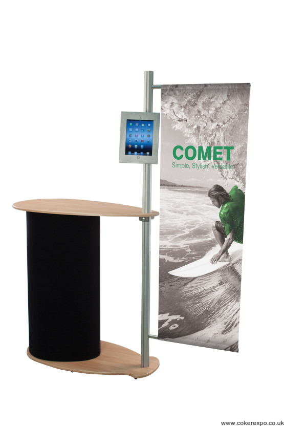 Comet trade show promotions counter with ipad display