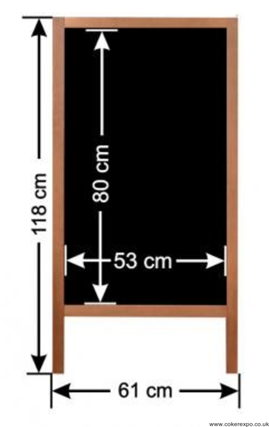 A frame chalk board dimensions