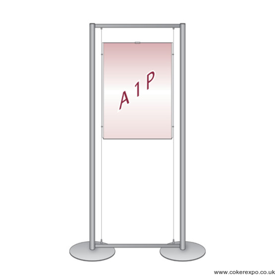 A1 Window cable display system, free standing displays