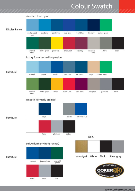 colour swatch for exhibition furniture fabrics