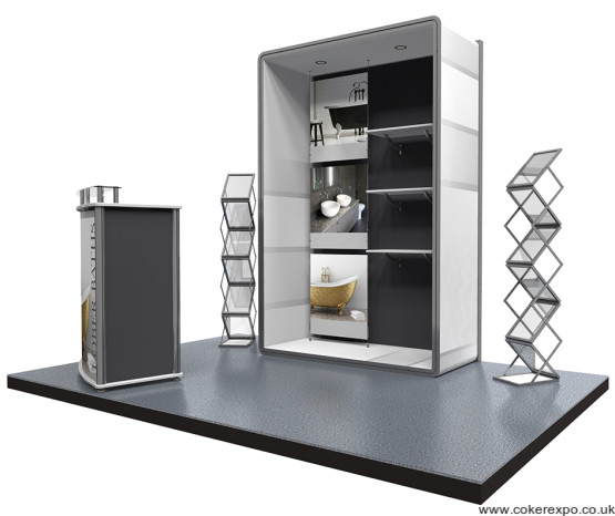 Vector kit 7, freeform exhibition display stand with shelves.