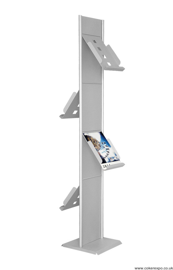 Double sided exhibition and showroom literature rack with A4 pockets.