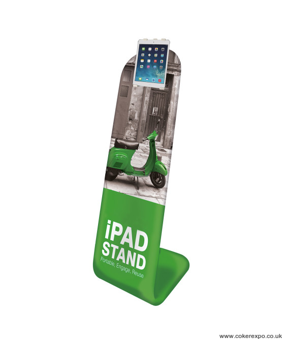 Ipad Formulate Display Stand with fabric graphic.