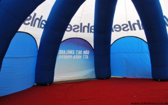 Octopus Inflatable tent for outdoor events, internal view.