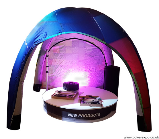 Inflatable promotional tent with branding