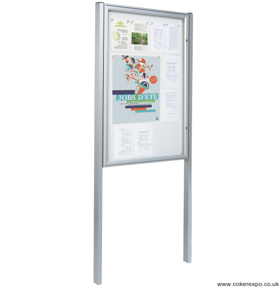Poster display case with posts