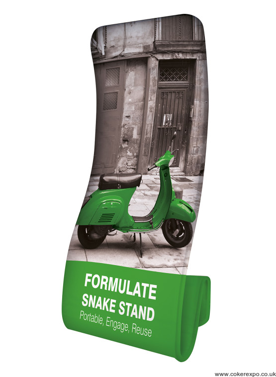Snake stretch fabric banner stand.