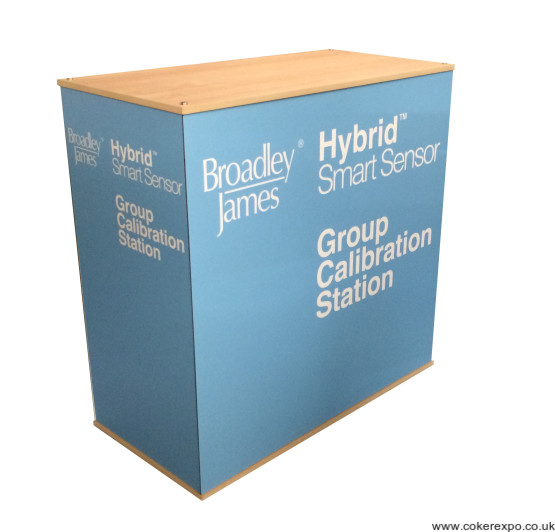 Flat pack exhibition counter unit with graphics