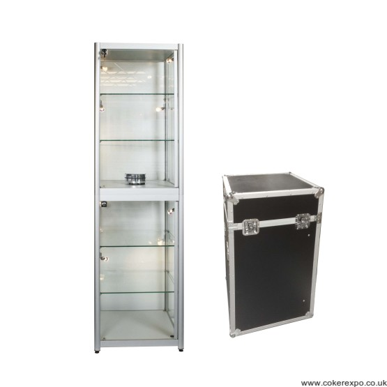 Portable Exhibition Case : Portable glass tower display case led lighting and flight case