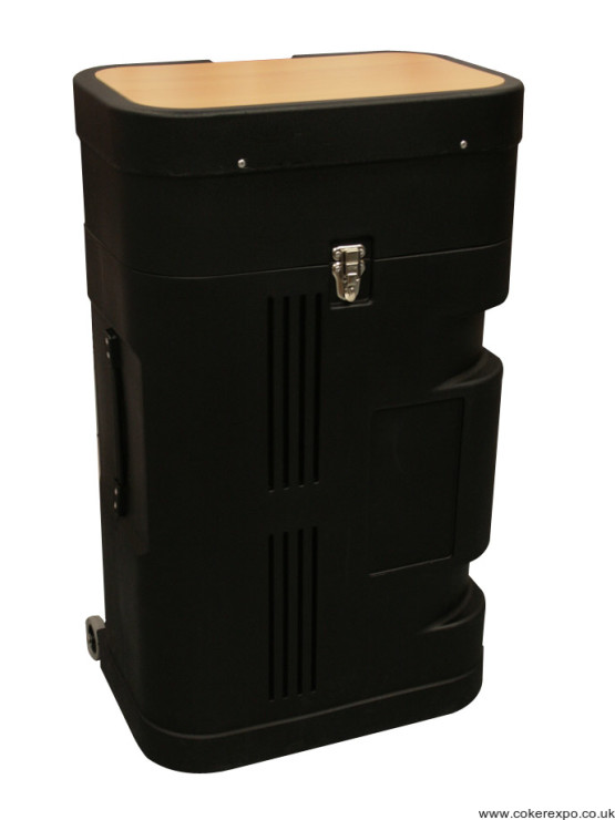 Black moulded pop up display transport case with beech top.