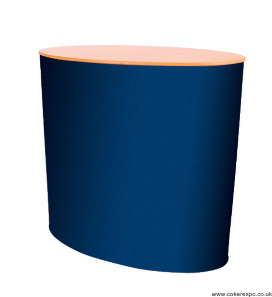 Eclipse exhibition counter in blue fabric with beech colour top