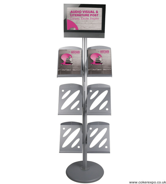 Point of sale literature sign post with racks.