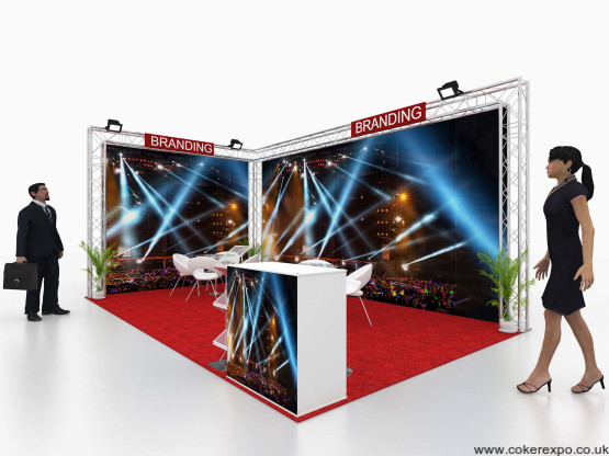 2 wall lighting truss system with banners