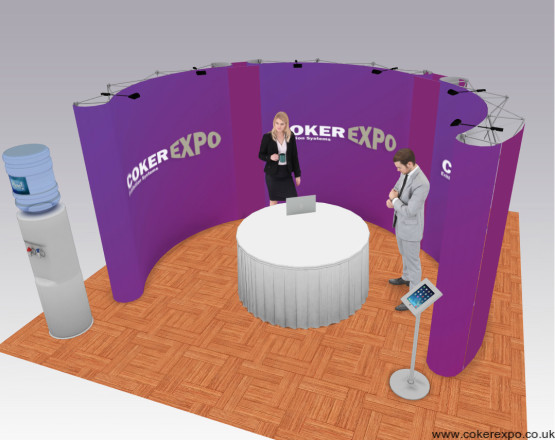 3 curved pop up display stand linked together to form an exhibition booth area
