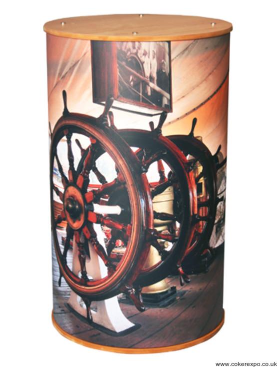 Branded round display plinth