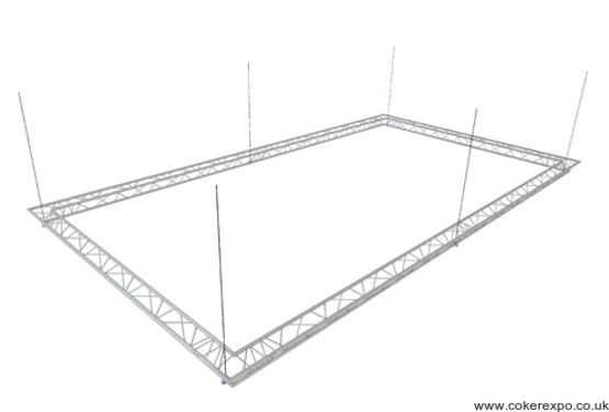 Suspended lighting truss for aerial displays.