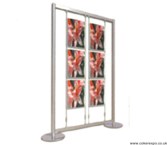 six double sided A3 acrylic pockets in a freestanding display