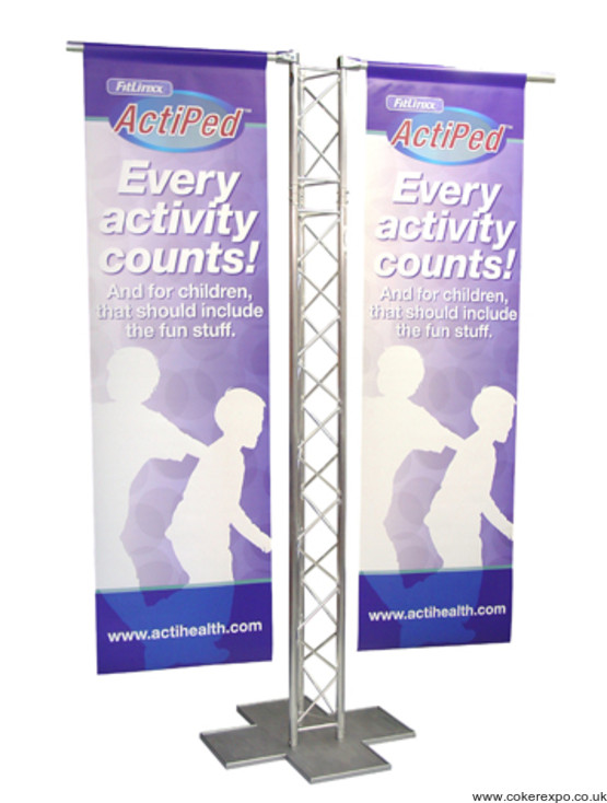 Gantry banner stand frame with banners.