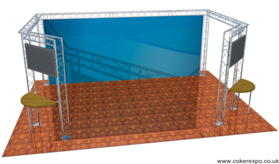 Exhibition gantry system with tables