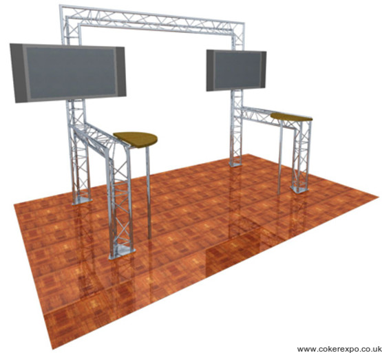 Exhibition lighting truss with Lcd screens and tables