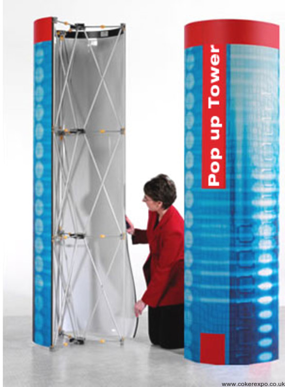Pop up display stand round tower with graphics