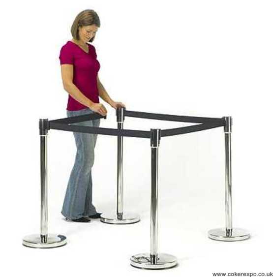 A set of retractable belt barrier posts