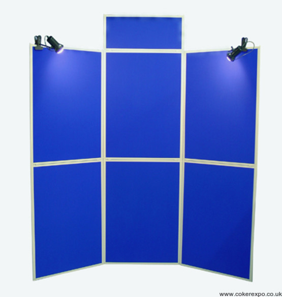 Six fold display board in blue with lights