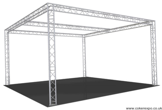 Exhibition gantry with center beam lighting truss section