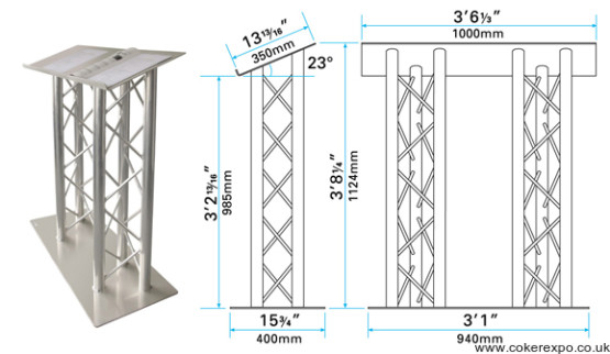 Aluminium finished lectern in trio truss with dimensions drawing