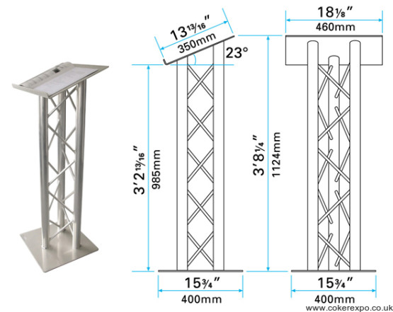 Trio gantry lectern in aluminium truss.
