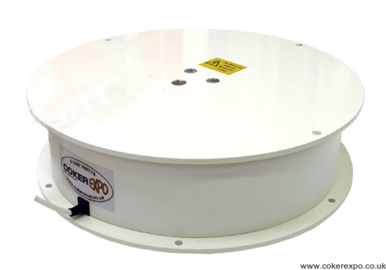 A large white display turntable.