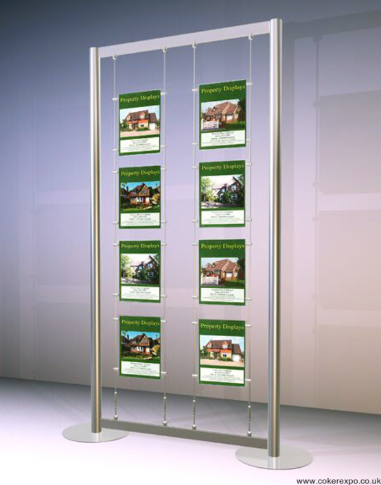 Free standing wire display framework with acrylics