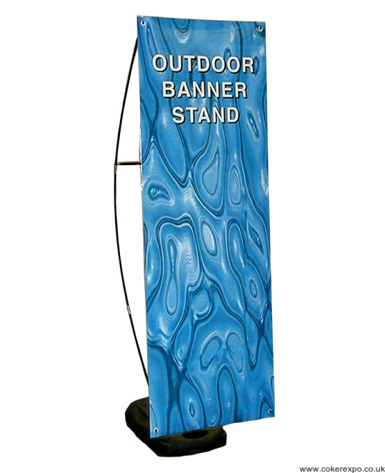 The storm banner stand with water filled base