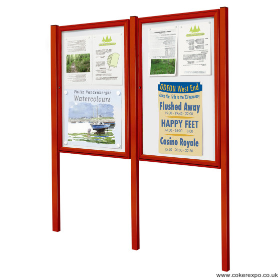 double notice boards with posts and coloured frame