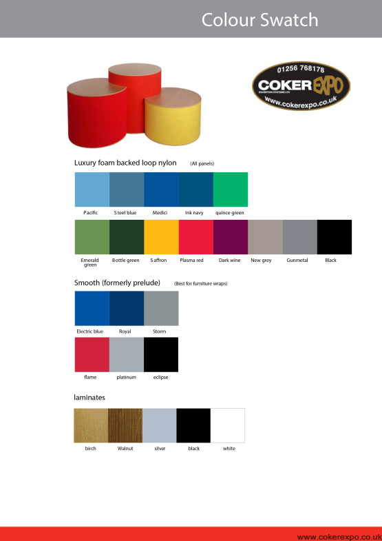 Range of colours for exhibition furniture items