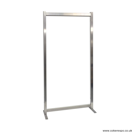 A basic free standing aluminium exhibition frame with feet