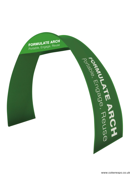 Arch display stand with tension fabric graphics.