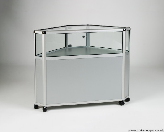 Alpha glass corner cabinet for retail and exhibition environment