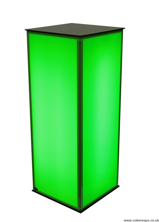 Green illuminated display plinth with black top