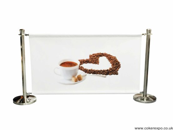 cafe barrier with printed banner