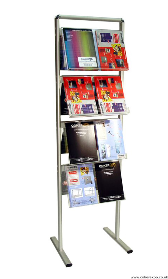 Communicator literature rack with acrylic shelves