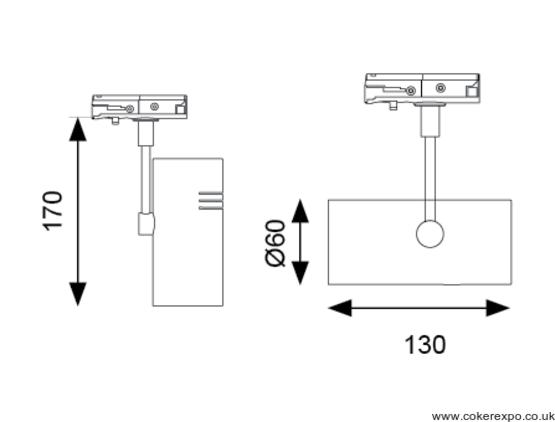 13w led spotlight dimensions drawing
