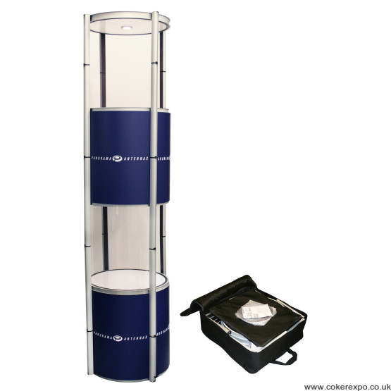 portable tower showcase with wheeled carry bag