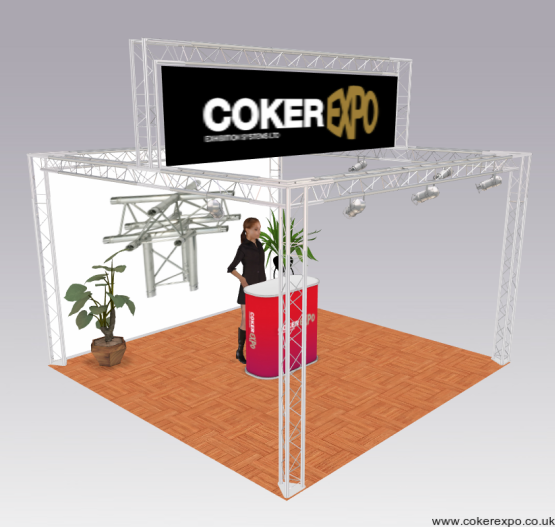 Exhibition truss with raised display area