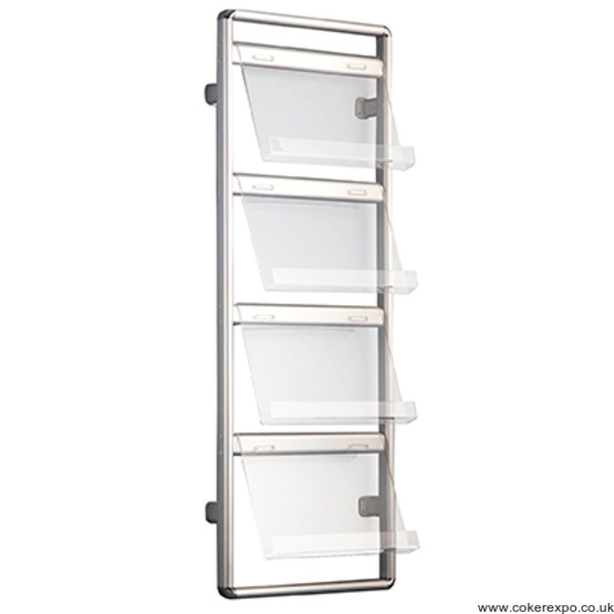 Wall Communicator brochure rack with acrylic shelves